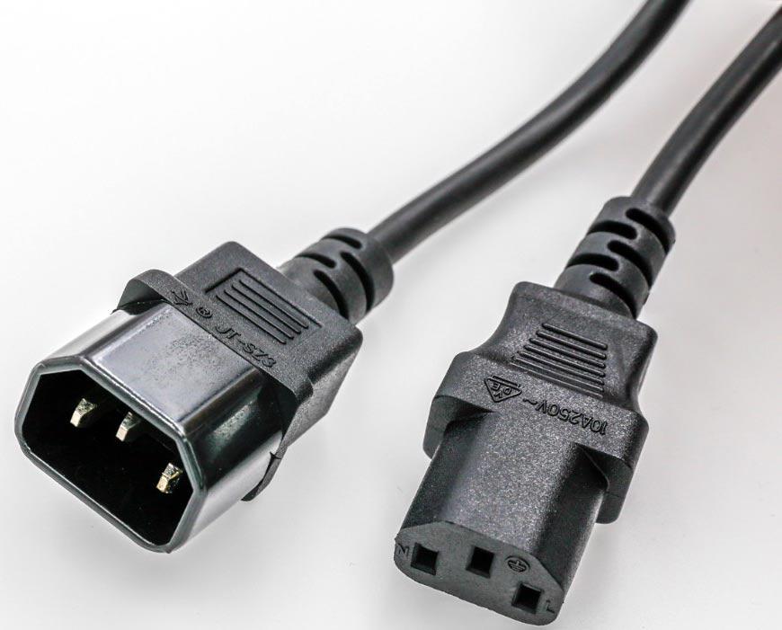 Computer cords IEC 320 C14 plug to IEC C13 Receptacle