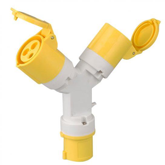 2 Way Splitter 16A 3 Pin Socket Adapter 110V