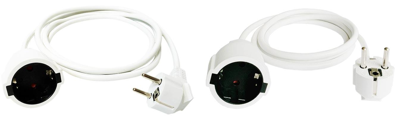 CEE 7-7 Schuko Male Female Extension Cable White